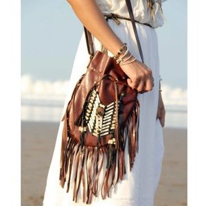 NEW genuine soft leather fringe and bone purse bag